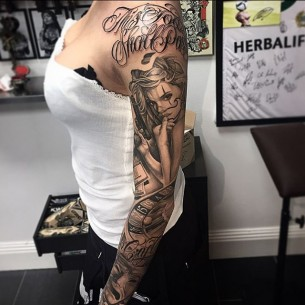 Ganster Tattoo Designs Sleeve