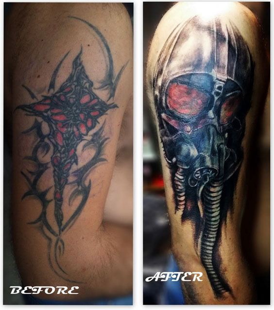 Gas Mask Shoulder Tattoo Cover-Up by Andrzej Cymon