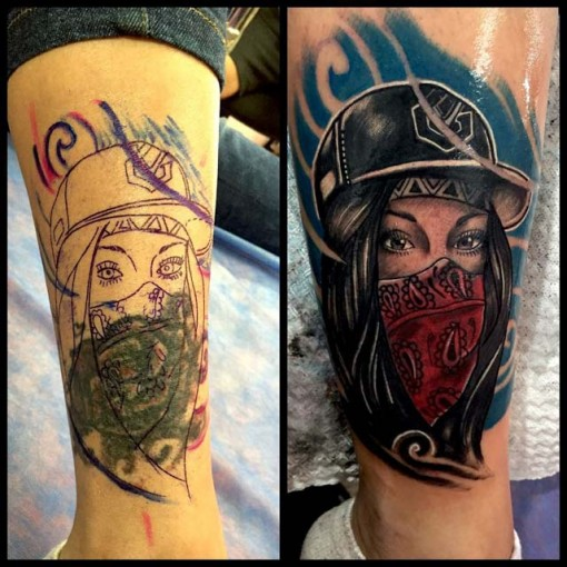 Girl Tattoo Cover-Up on Leg by diego vinasco