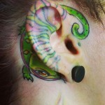 Green Cute Lizard Ear Tattoo