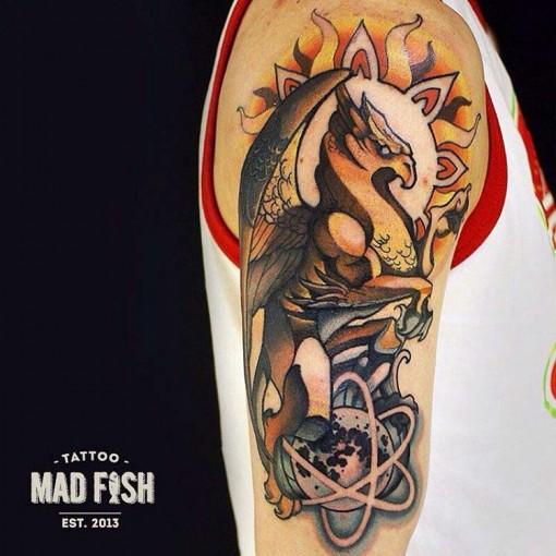 gryphon tattoo on shoulder
