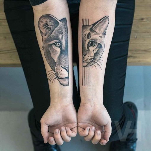 lion cat tattoos on forearms