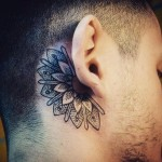 Half Mandala Tattoo Behind Ear