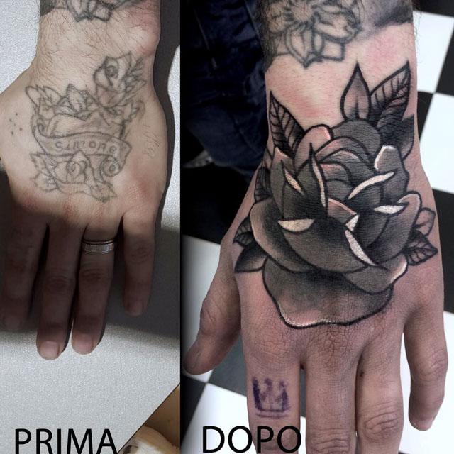 Hand Tattoo Cover Up by Mattia Giks Esposito