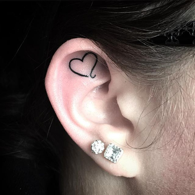 Heart Outline Inside the Ear by @manchubaby