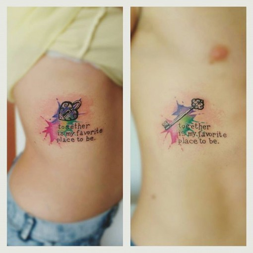 Key Heart Shaped Lock Couple tattoos watercolor