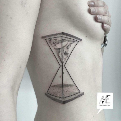body side hourglass tattoo dotwork