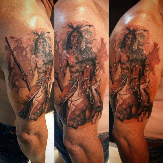 Indian War Chief Tattoo by Leandro Medeiros