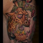 Insane Giraffe Tattoo New School