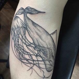 Jellyfish and Whale Tattoo Dotwork