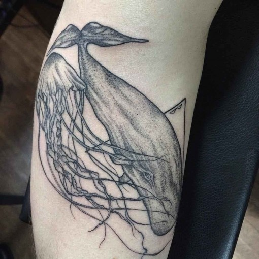 dotwork tattoo jelly fish and whale