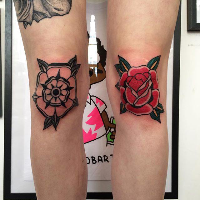 Knee Cap Tattoos by @ragandbonetattoo