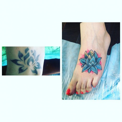 Lotus Flower Foot Tattoo