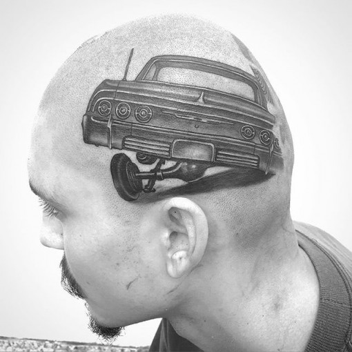 head tattoo Lowrider Chicano