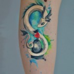Magical Watercolor Dragon Tattoo