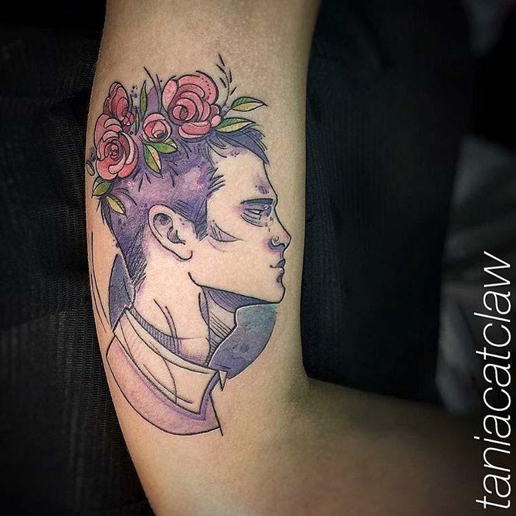 Portrait Tattoo Man with Head Wreath