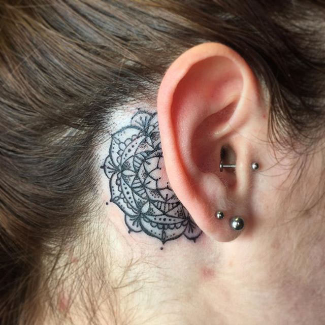 Mandala Tattoo Behind Ear