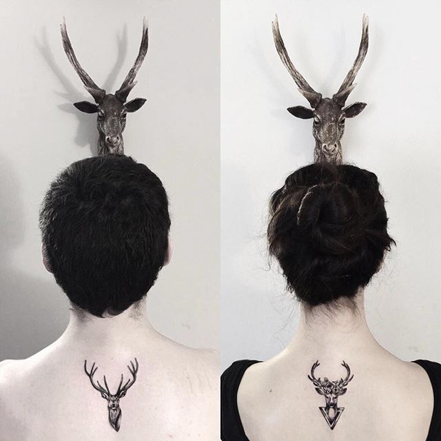couple tattoos stags on back