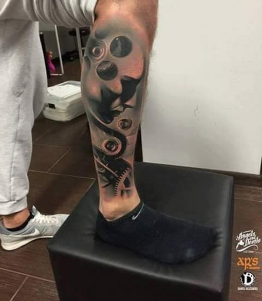 Mechanical Leg Tattoo