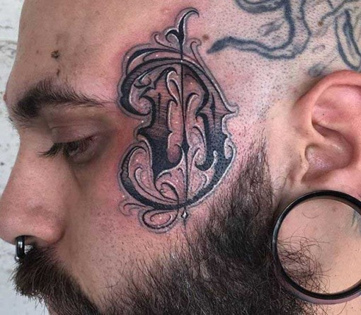 Chicano Lettering Face Tattoo