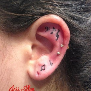 Music Note Tattoo Ear