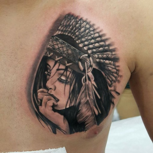 Native Indian Girl Tattoo by ugur aydin