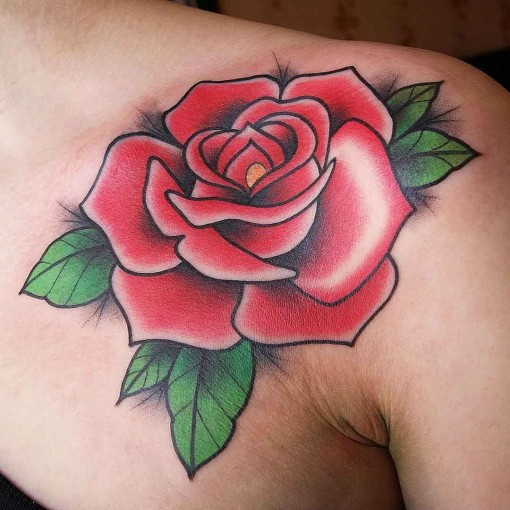 front shoulder rose tattoo