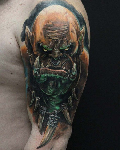 shoulder realistic orc tattoo World of Warcraft