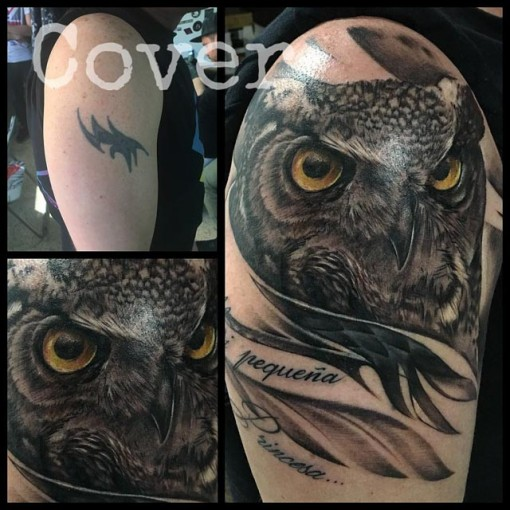 Owl Tattoo Cover Up