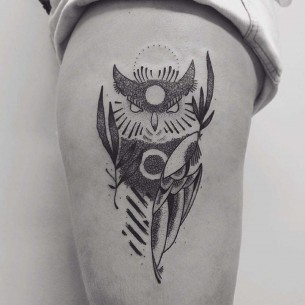 Owl Tattoo on Hip
