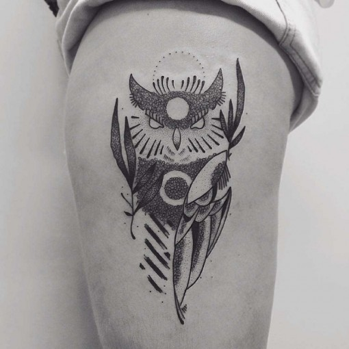 hip tattoo dotwork