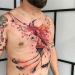 Phoenix Chest Tattoo