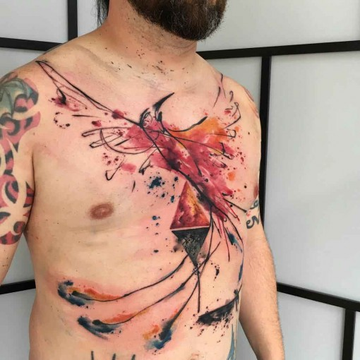 chest tattoo phoenix watercolor