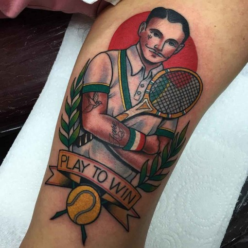 neotraditional tennis tattoo