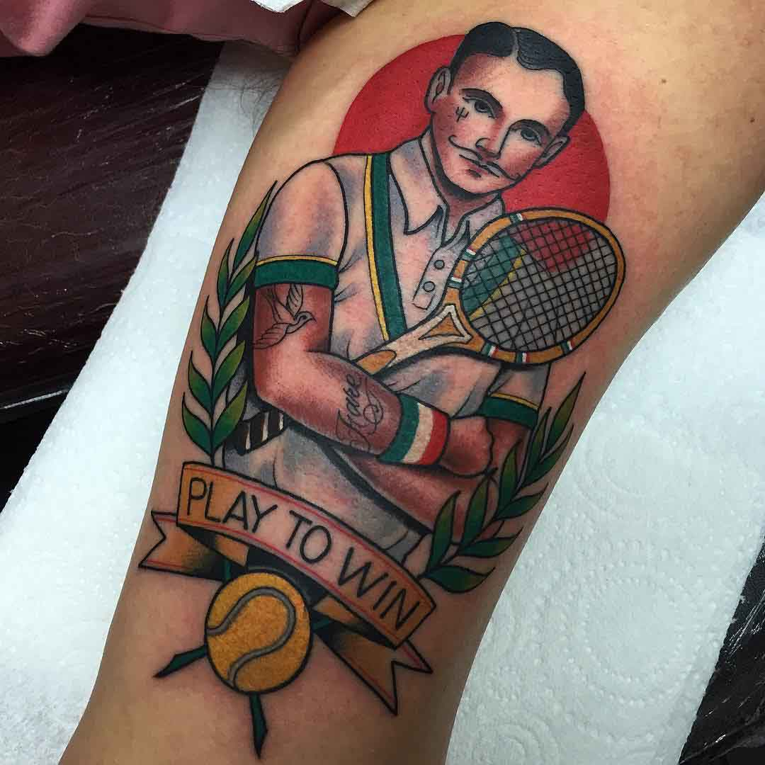 neotraditional tennis tattoo