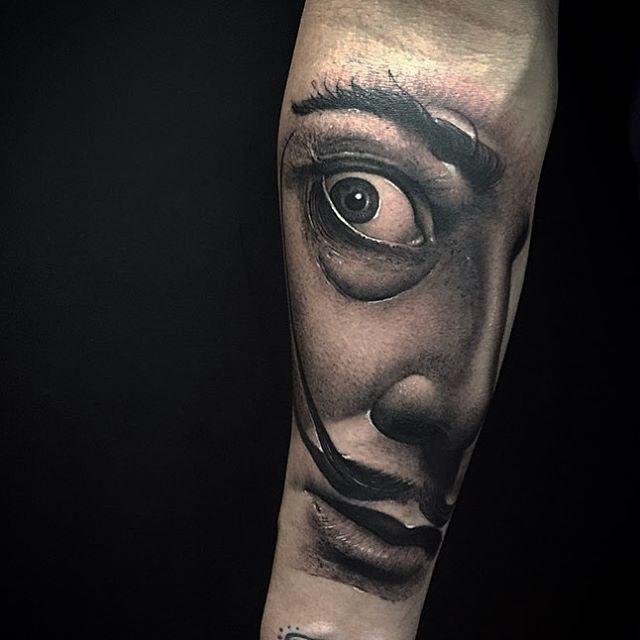 salvador dali portrait tattoo