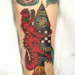 Rocket Dino Neo-Traditional Tattoo
