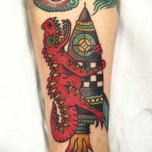 Rocket Dino Neo-Traditional Tattoo