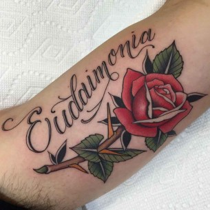 Rose With Lettering Tattoo