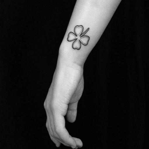 Side Wrist Clover Tattoo