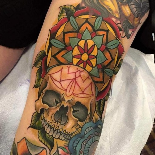 Skull Knee Tattoo