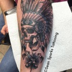 Skull and Axes Indian Tattoo