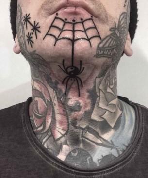 Spider Web Tattoo on Chin
