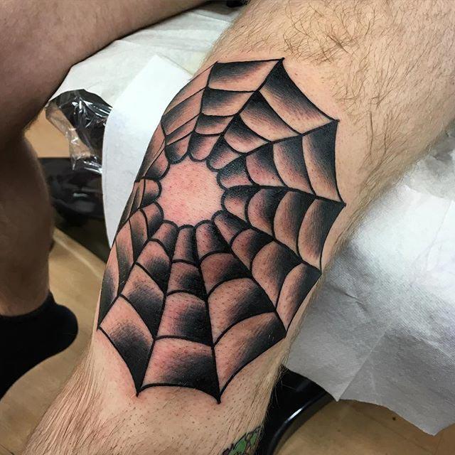 Spider Web Tattoo on Knee