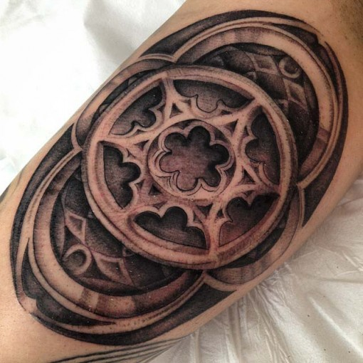 Stained Glass Window Tattoo On Bicep Best Tattoo Ideas Gallery