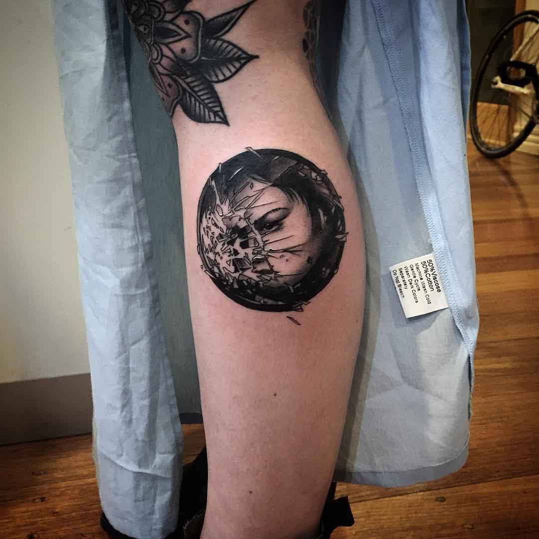 calf side tattoo