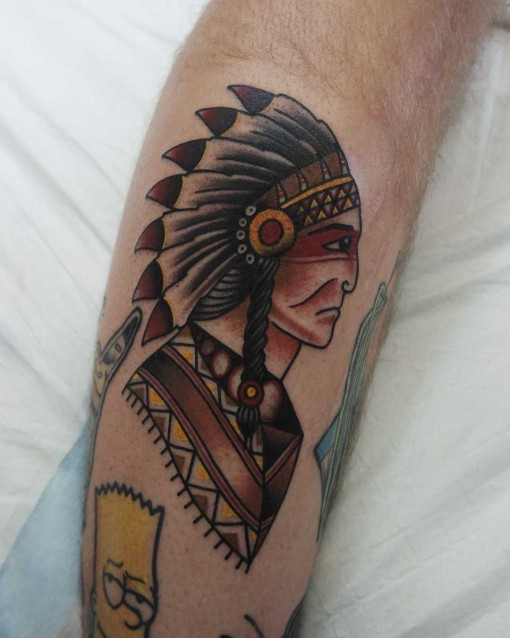 Indian Chief Neo-traditional tattoo