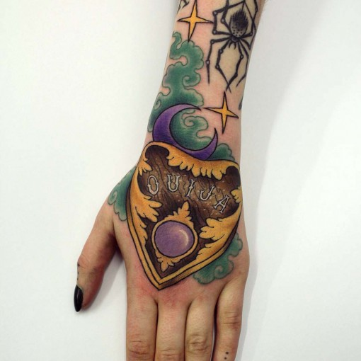 colorful hand tattoo