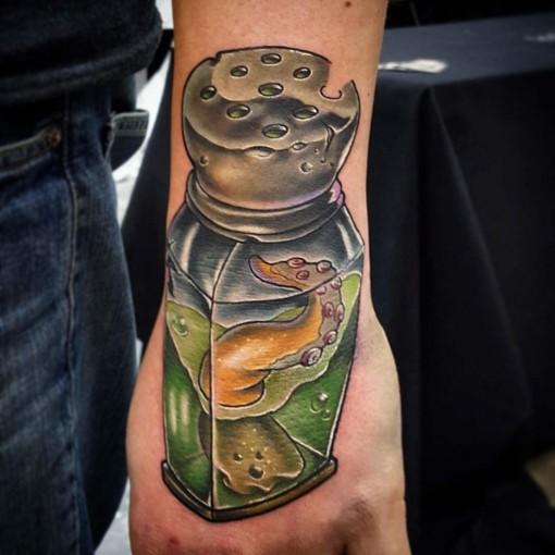 hand new school tattoo tentacle