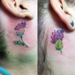 Thistle Tattoo Behind Ear